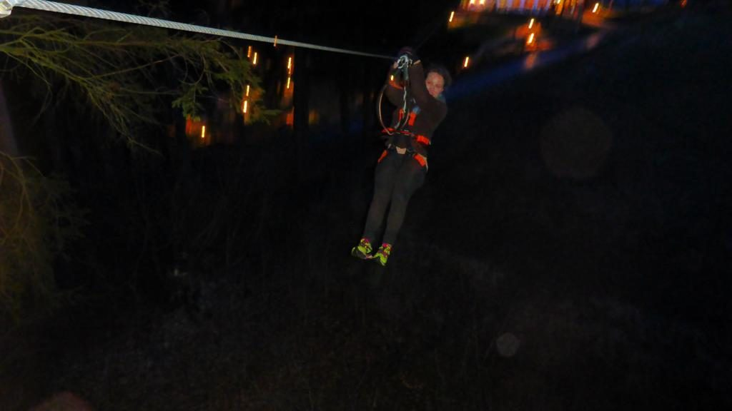 Ziplining by night