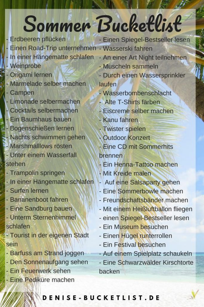 Sommerbucketlist Vorlage als Download